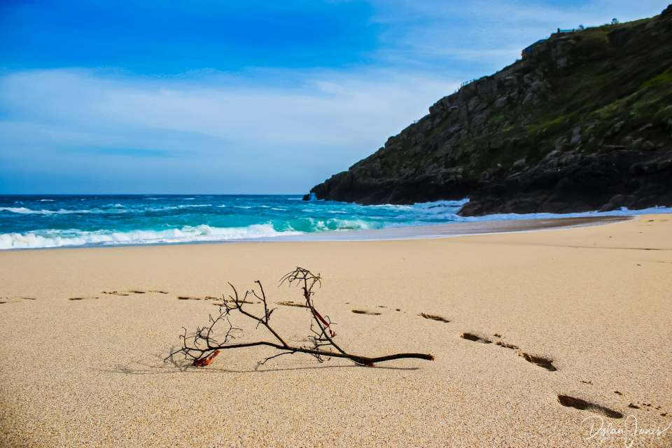 A peaceful moment on Porthcurno Beach, South Cornwall coast