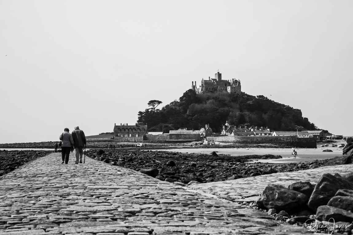 Crossing the causeway to St. Michael's Mount at low tide, South Cornwall coast