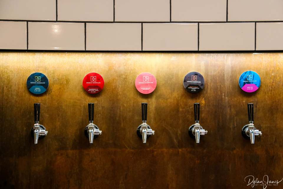 Choices, choices. Beer taps in the Tap Room at Double-Barrelled Brewery