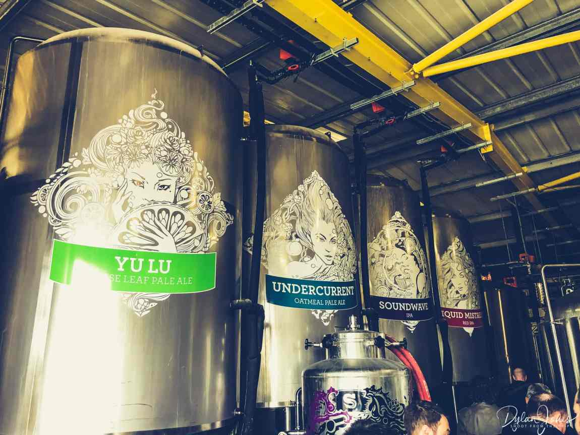 The stainless steel beer tanks featuring the 'Sirens' of Siren Craft Brewery