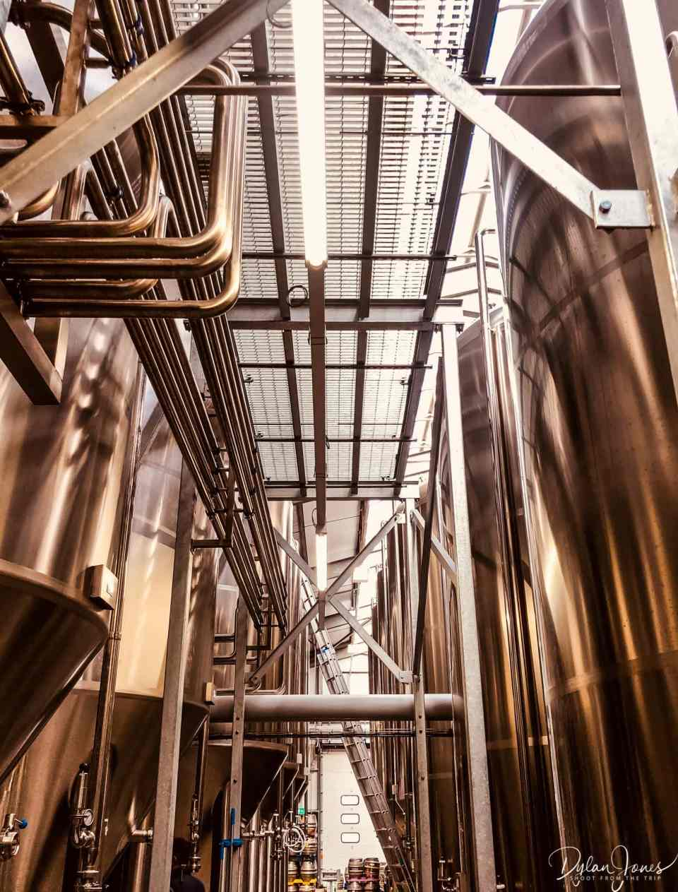 Stainless steel beer storage tanks at West Berkshire Brewery