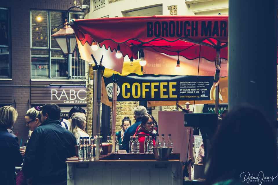 Searching out great coffee in Borough Market.