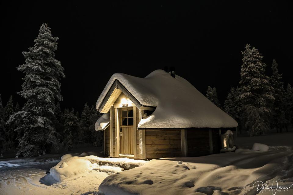 Aurora Cabin #1 at night