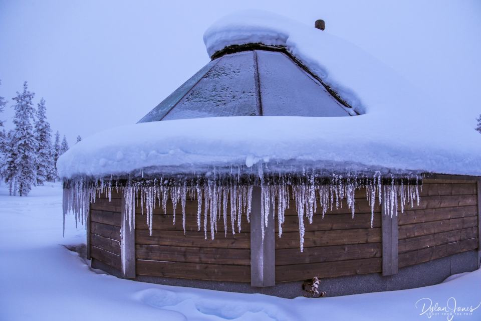 Curved windows and icicles on the Aurora Cabin
