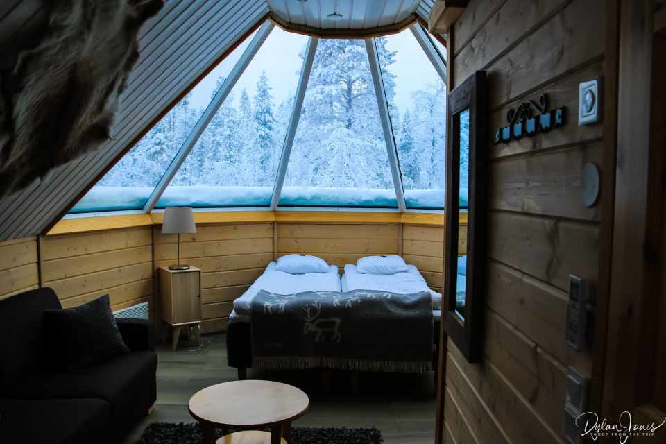 Interior overview of the Aurora Cabin at Northern Lights Village Saariselka