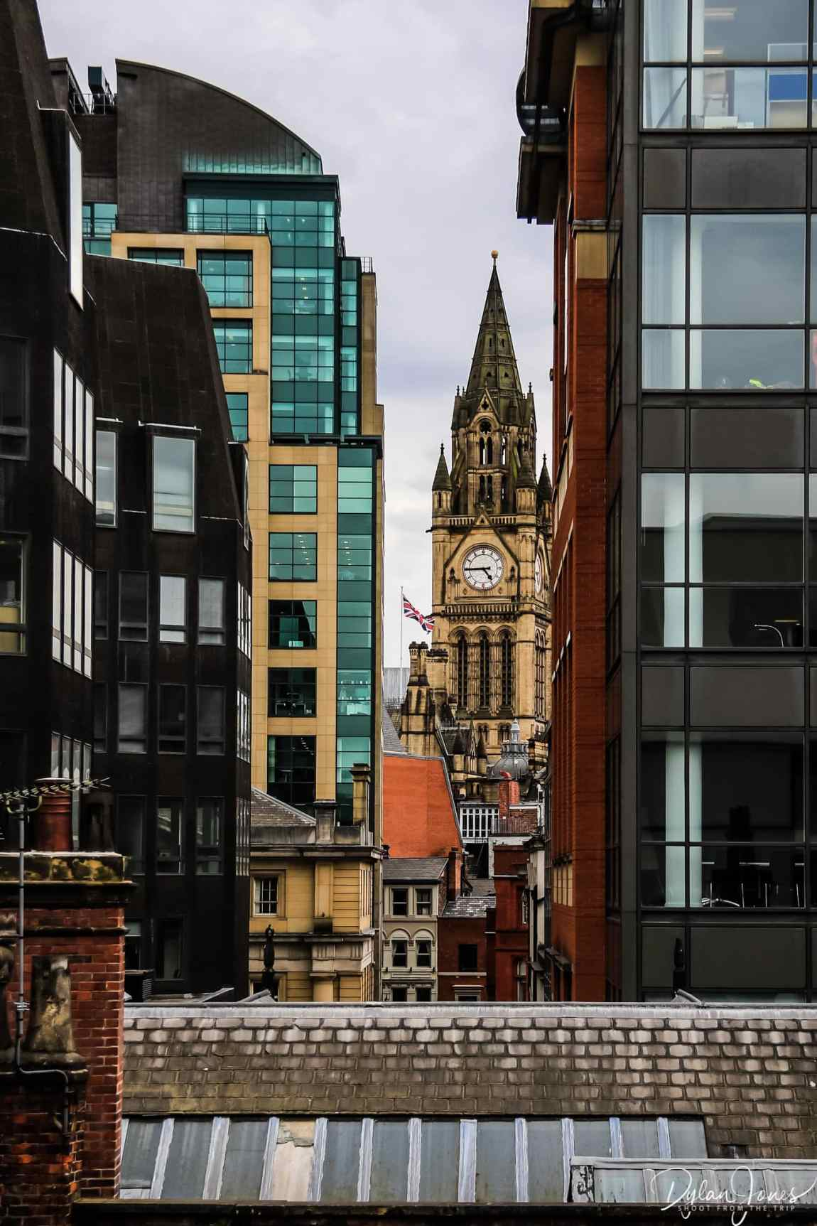 Views of Manchester Town Hall from the hotel room of Motel One Manchester Royal Exchange