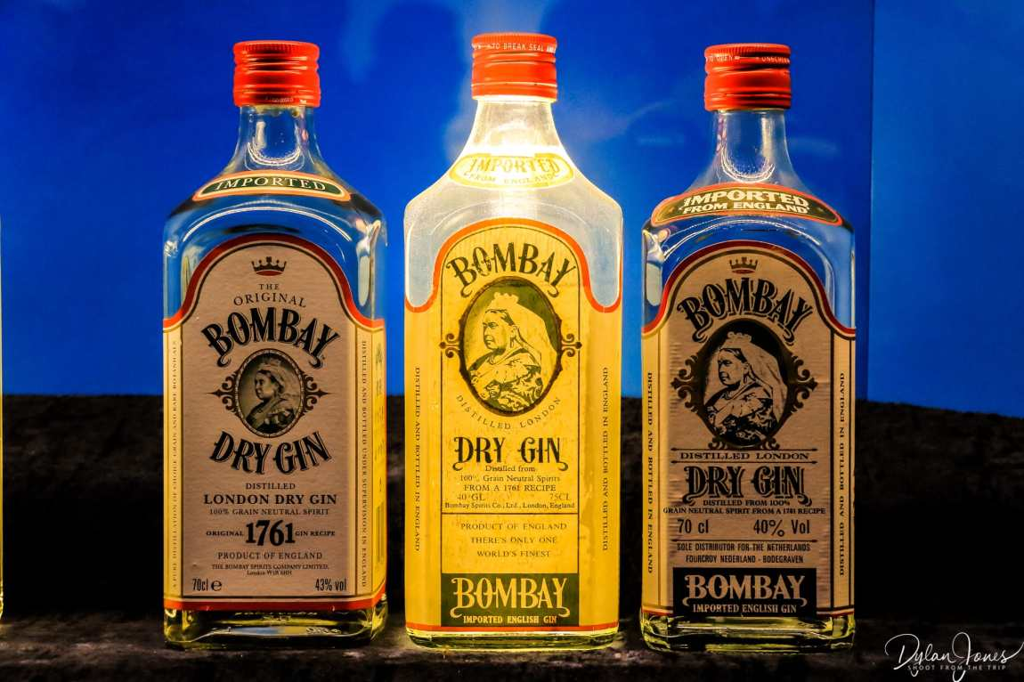 A display of historical Bombay Sapphire bottles