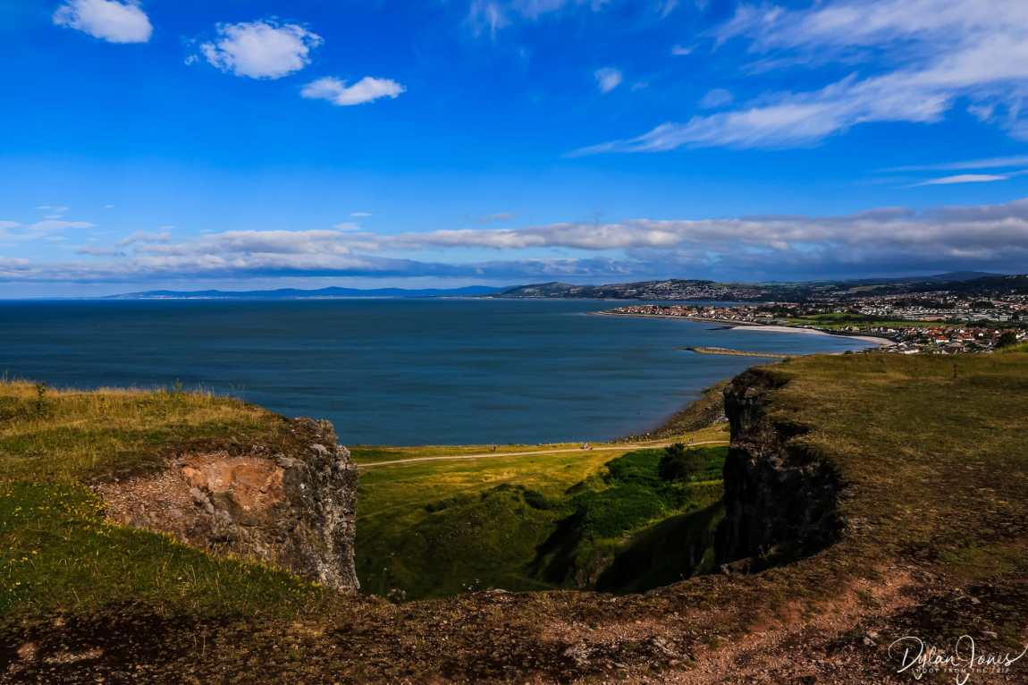 Views east from a vantage point on the Little Orme
