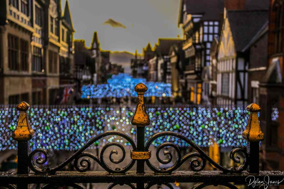 Railing detail on the Chester City Walls at the Eastgate Clock