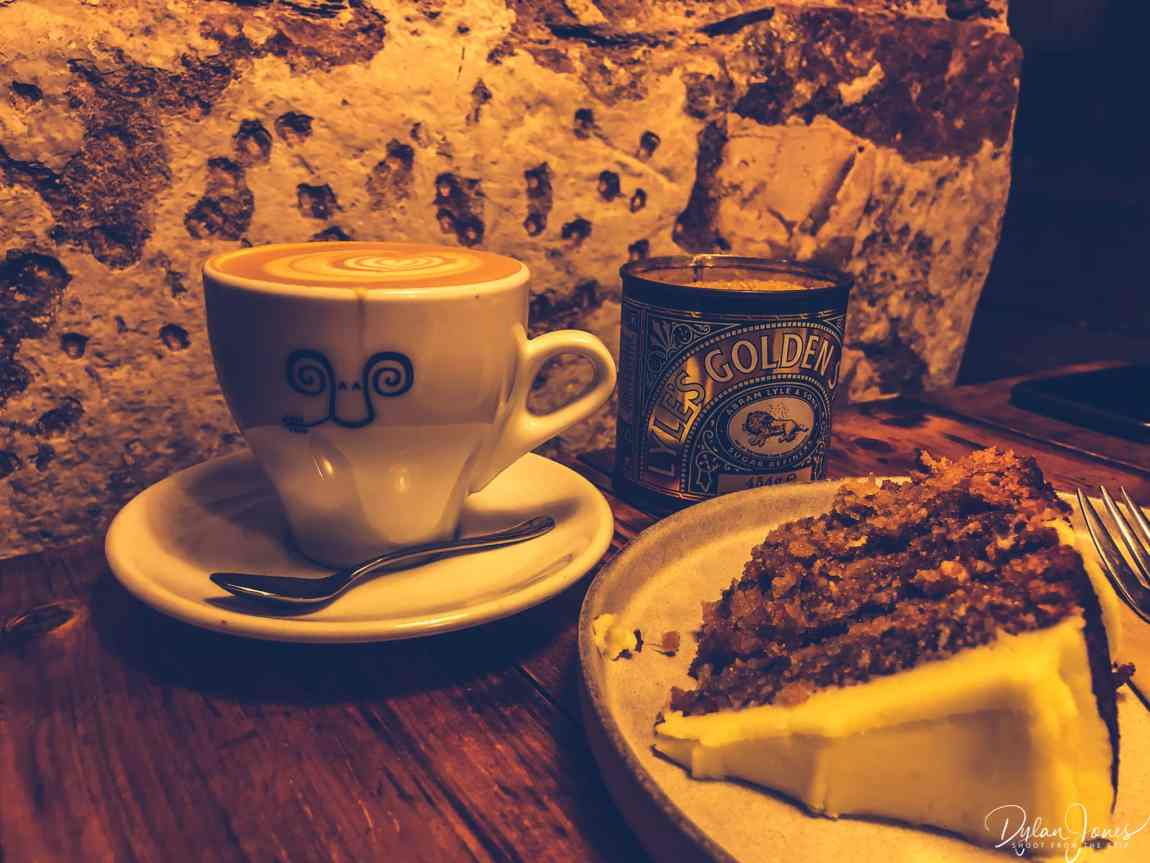 Coffee and carrot cake, at the Jaunty Goat