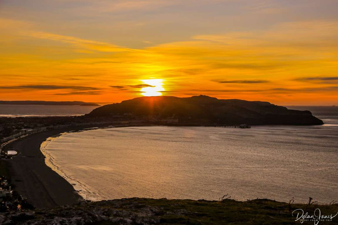 Llandudno's Great Orme headland at sunset