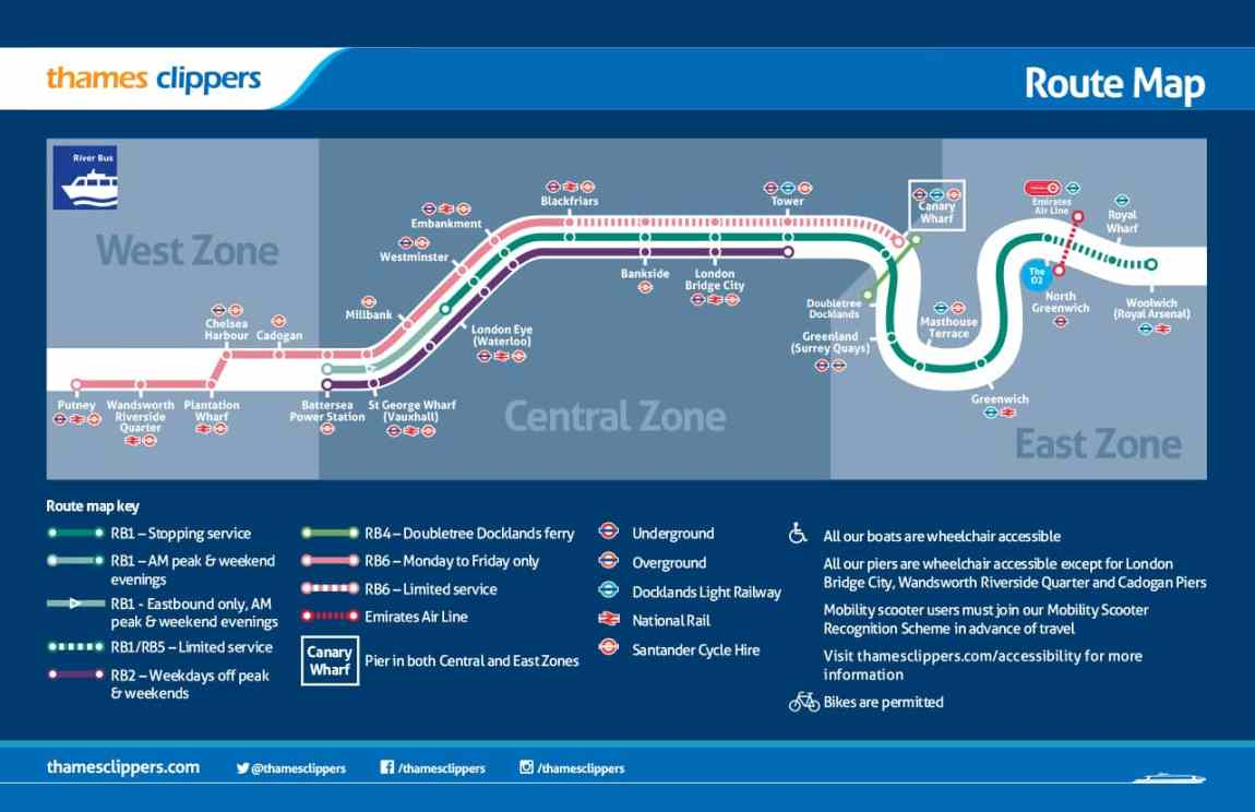 Thames Clippers Route Map © Thames Clippers website