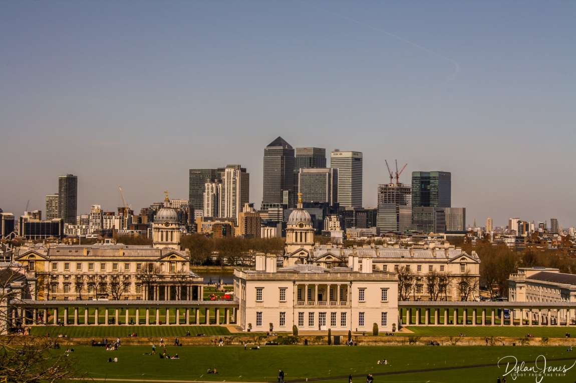 Views of Greenwich and Canary Wharf from the Royal Observatory