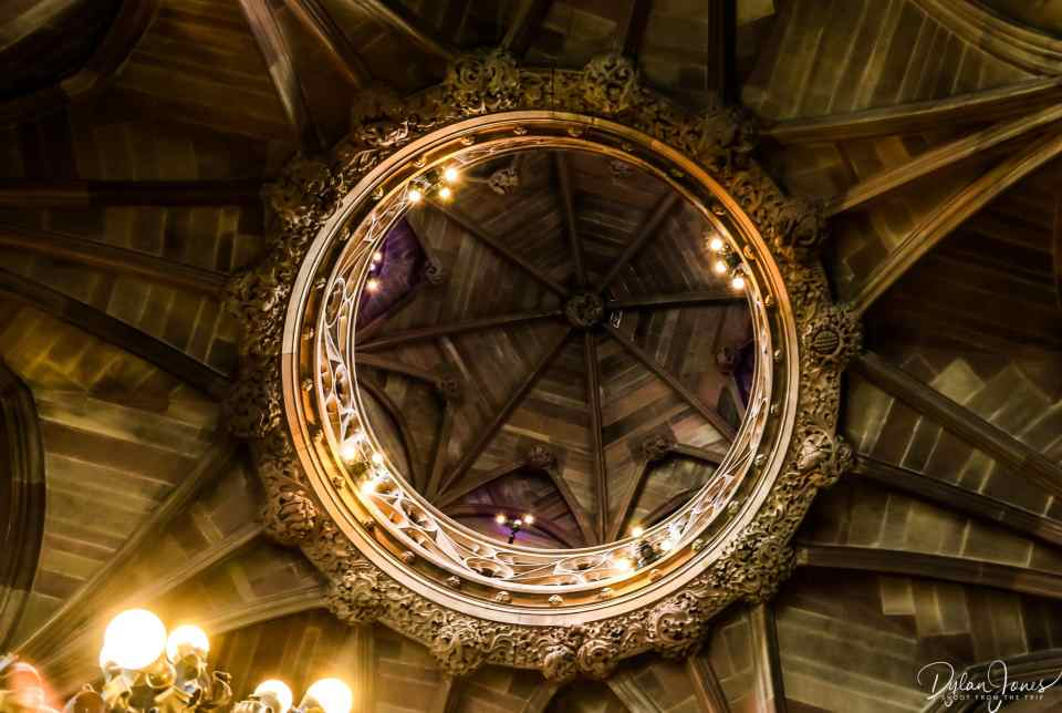 Looking up to the Lantern Gallery at John Ryland Library