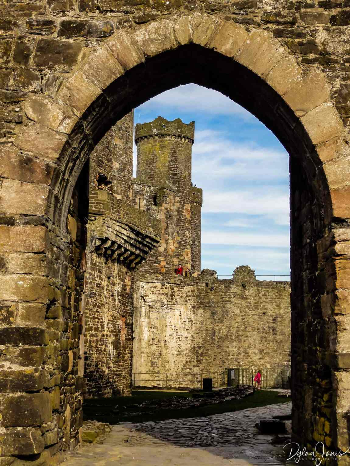 One of Conwy Castle's towers framed by an archway