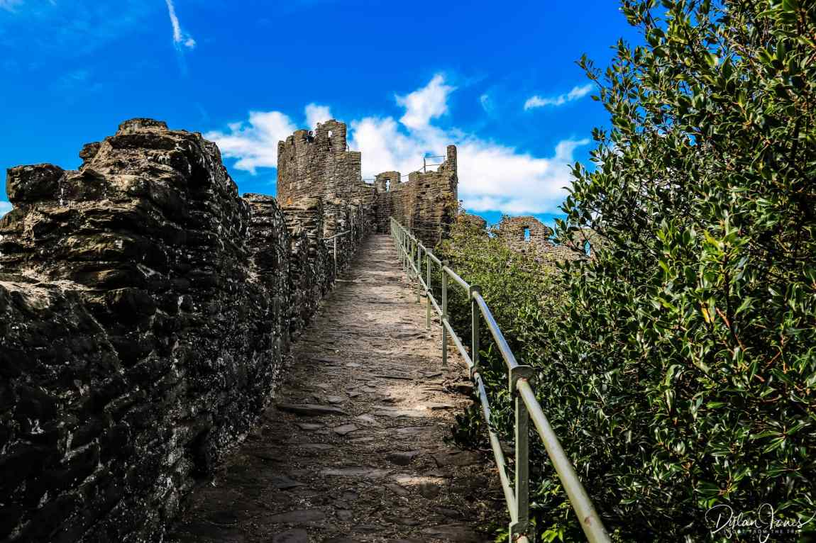 Looking up to The Watchtower of the Conwy Town Walls