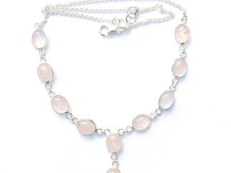 Rose Quartz Oval Necklace.