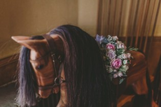 Leicester home wedding flowers on a rocking horse