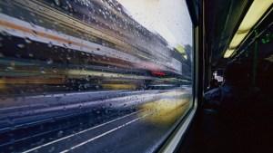 Riding a train