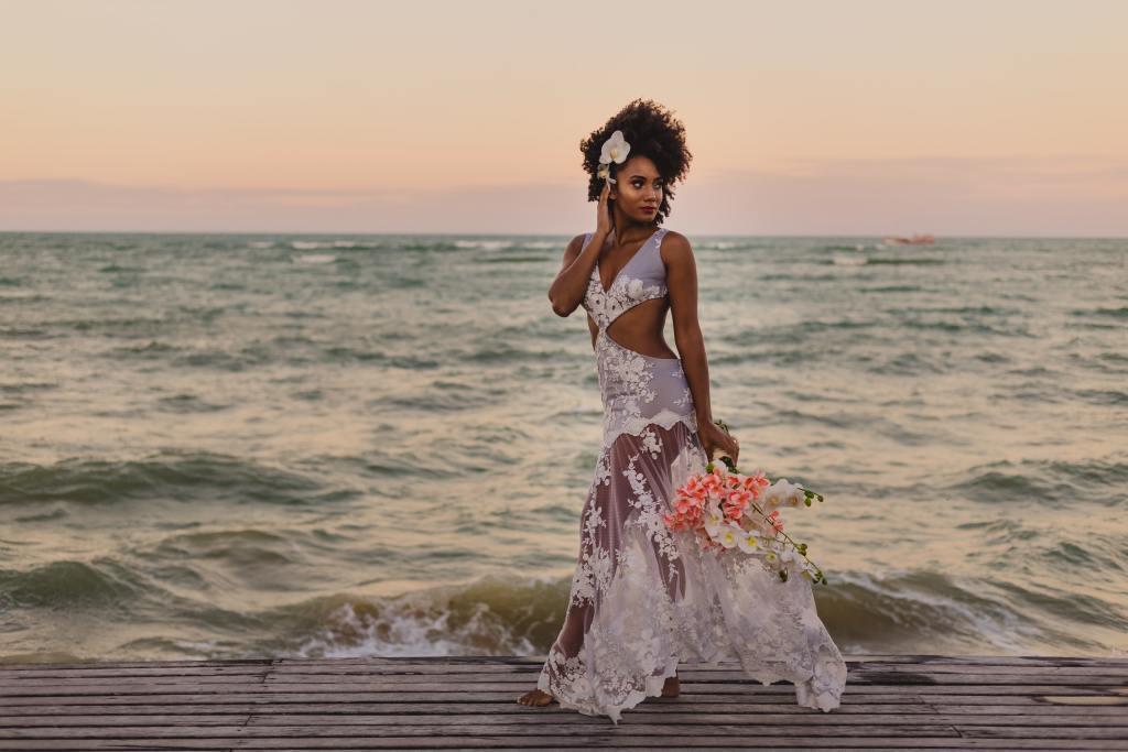 Bride by beach