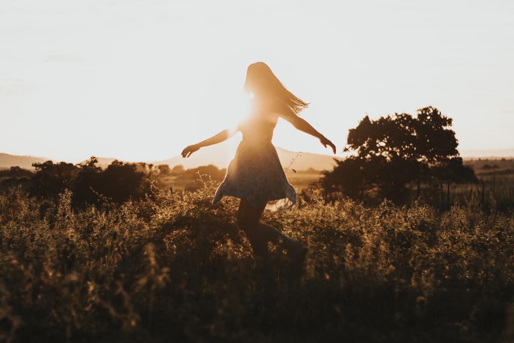 Dancing during sunset