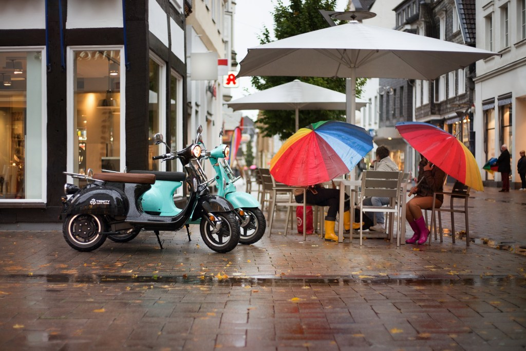 Electric scooter in the rain