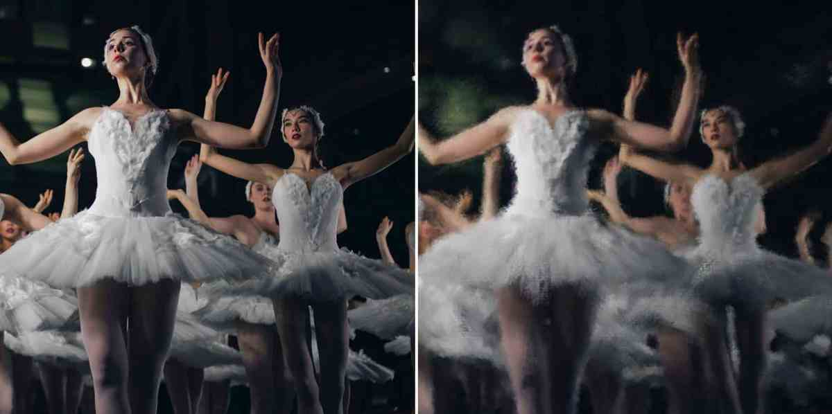 A photograph of ballerinas mid-performance is shown in both an unedited version and a version that's been Photoshopped to look like an Impressionist painting