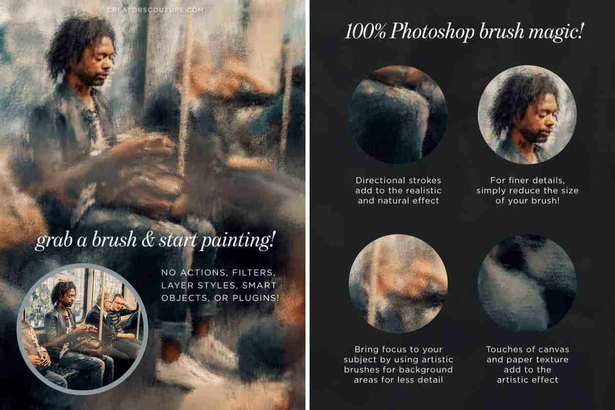 This explainer sheet describes how to use Photoshop brushes to create a painterly effect on a photograph. In this example, a Black man is sitting on a subway. Both the manipulated image and a selection of the unedited image are shown.