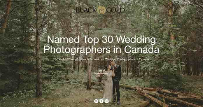 """The homepage of Black & Gold Photography's website displays a portrait of a wedding couple in a forest. A text overlay says, """"Name Top 30 Wedding Photographers in Canada."""""""
