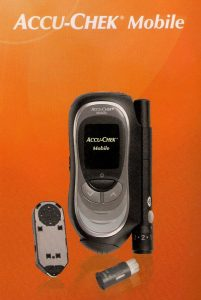 An Accu-Chek Mobile blood glucose testing meter, yesterday