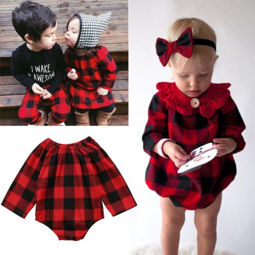 c30188312a4d Fashion Newborn Baby Girl Plaid Romper Top Jumpsuit Bodysuit Checked Clothes  USA