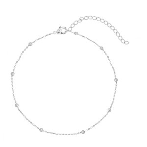 Anklet tiny beads silver