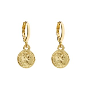 Earrings coin head gold