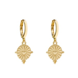 Earrings coin heart gold