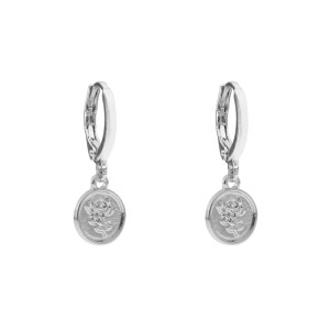 Earrings coin rose silver