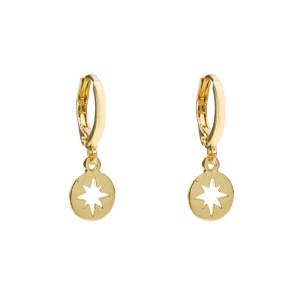 Earrings cut out star gold