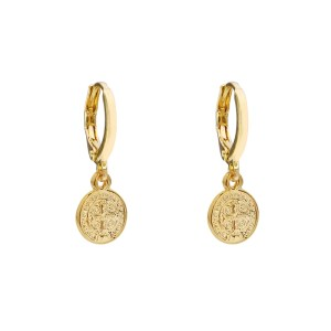 Earrings coin cross gold