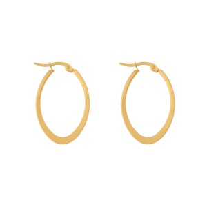 Earrings hoops oval statement small gold
