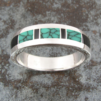 Spiderweb Turquoise And Blue Turquoise Inlay Wedding Ring