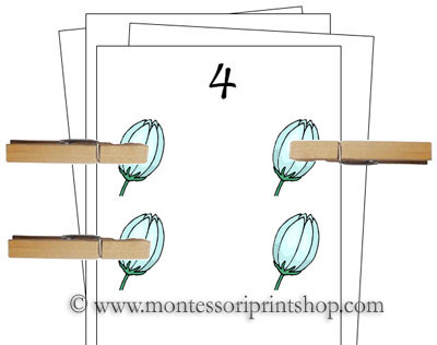 Counting Cards (Spring) - Printable Montessori Materials for home and school.
