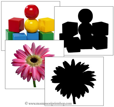 Objects and Shilouettes - Montessori Cards for Montessori Learning at home and school.