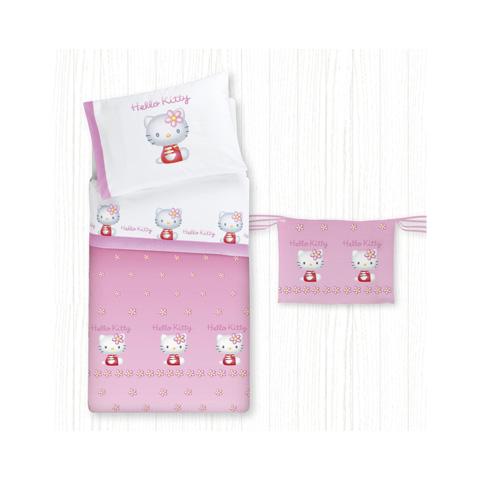 Gabel hello kitty lenzuola cotone completo lenzuolo stampato su madapolam, di puro cotone. Parure Sfilabile Per Lettino Hello Kitty 3d 030 Rosa Somma Shop4bimbi Com