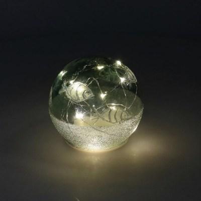LAMPADA LED MARE VETRO CON PESCI SFERA CM.12H10