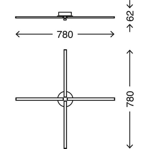 GO - PLAFONIERA 4 BRACCETTI 78 X 78CM - LED 20WATT 2000LUMEN 3000K - ALLUMINO