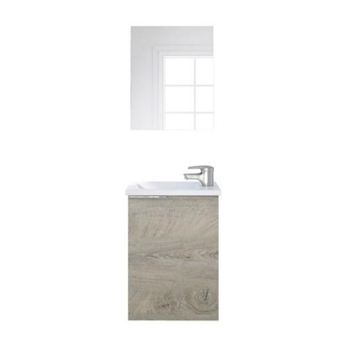 COMPACT Composizione Lavabo 40cm (Chiusura Ammortizzata) con 1 Anta + Specchio + LAVABO INCLUSO