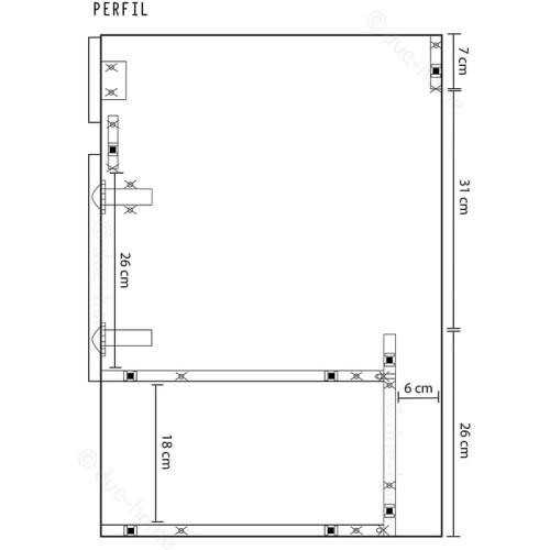 MOBILE BAGNO PENSILE+2 ANTE+SPECCHIO MIS 0,64X0,8X