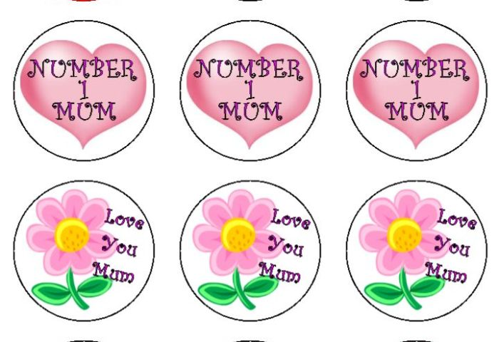 Mothers Day Cupcake Toppers X 12
