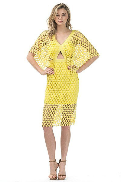 46dcb21db00 Yellow Perforated Cape Sleeve Dress - Shop Claudia Myers Boutique