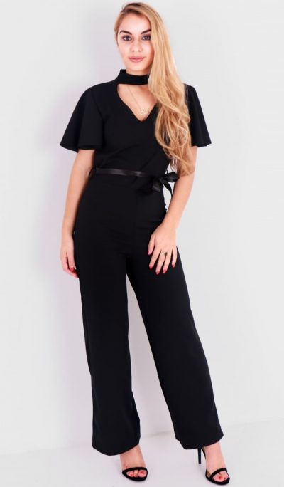877d387f8e0 Black Short Cape Sleeve Jumpsuit - Shop Claudia Myers Boutique