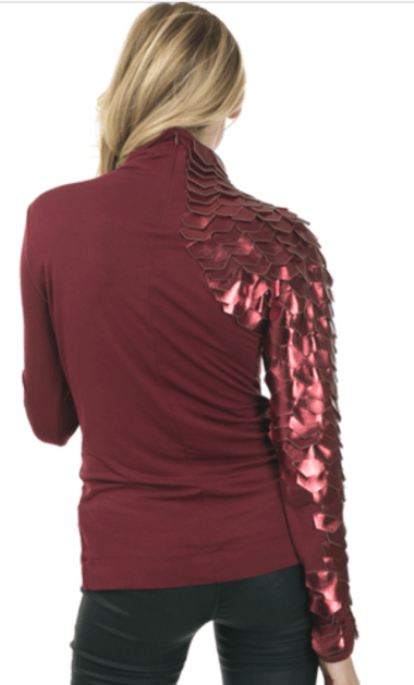Burgundy Metrix Scale Sleeve Top 2